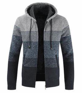 Tasarımcı Triko Kış Çizgili Baskı Uzun Kol Kapşonlu Erkek Palto Kontrast Renk Erkek Giyim Kalın Hırka Mens