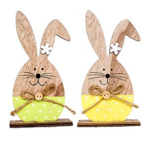 Пасха деревянные декоративные украшения милый кролик украшения 3 типа с пасхальное яйцо ленты стенд украшения DIY ремесло украшения