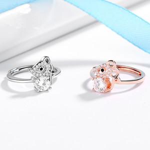 Clássico Entrar Rat Crystal Ring Zodiac Rato presente de aniversário Anel Rose Gold Silver Presentes Mulheres BirthdaJewelry Engagement Rings partido