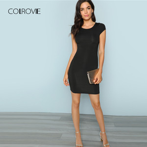 es COLROVIE Black Solid Cap Sleeve Sexy Dress Women 2018 Autumn Stretchy Slim Party Dress Girl Elegant Bodycon Evening Mini Dress