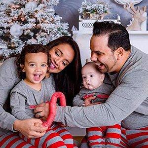 2020 Xmas INS Kids Adult Red Green Family Matching Christmas Deer Striped Pajamas Sleepwear Nightwear Pyjamas bedgown sleepcoat nighty