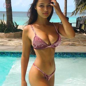 Gold Velvet Bikini Set Super Sexy Bikini Women Low Waist New Brazilian Swimsuit Pink Beach Bathing Suits Swim Wear