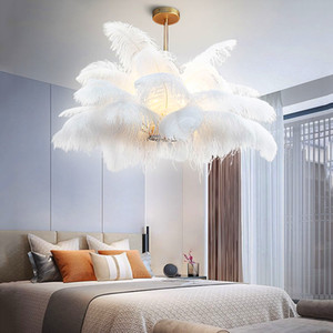 Lambanın Asma İskandinav LD Kolye Işıklar Doğal Devekuşu Tüy LOFT LED Sarkıt Oturma odası Restoran Aydınlatma Deco