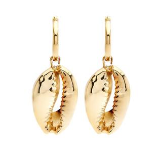 Shell orecchini semplice ciondolo in lega naturale shell lungo tratto moda femminile gioielli creativi vento nazionale elegante festa in spiaggia partito d'oro