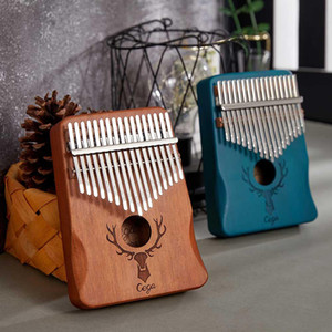 Kalimba Cega 17 teclas de piano del pulgar al por mayor de Goog Mood Caoba Mbira instrumento musical fácil de aprender con accesorios