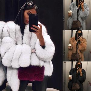 Brasão Mulheres Faux Fur Inverno de alta qualidade Grosso Mulheres Overcoat Quente Plus Size Plush Furry Feminino revestimento do revestimento Casacos 5XL
