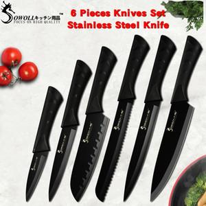 سول الموضة سكينة مطبخ فولاذية سوداء غير قابلة للصدأ وضعت المانيا سكين مطبخ حادة حادة حادة جدا سكين مطبخ 7cr17 أدوات مطبخ 6 PCS