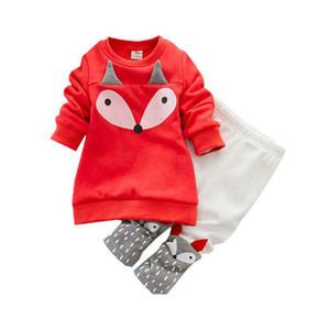 cute baby kids tops pants set lovely fox head pattern clothes set for 1-3yrs child infant boys girls outerwear clothes set