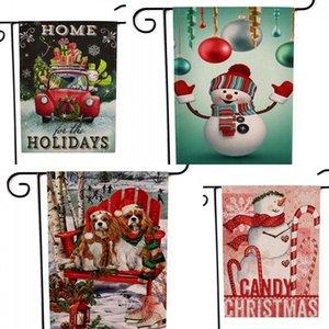 Bandiere da giardino a due facce Stampa pupazzo di neve Bandiere modello Stile natalizio Multi colori Banner Nuovo arrivo 6kx L1