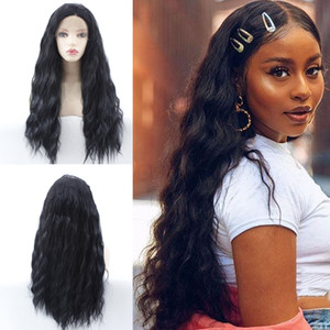 Lace Front Synthetic Hair Wigs Natual Wave Glueless High Temperature Fiber Synthetic Lace Wigs for Black White Women Long Wavy Water Wave