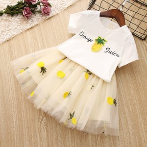 New Summer Girls Clothes White Pineapple T-shirt Tutu Skirts Children Clothing Set Fashion 3 4 5 6 7 8 Year Kids Suits
