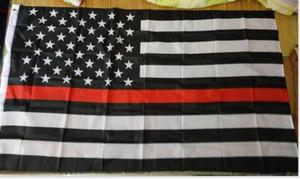 spedizione gratuita in fabbrica all'ingrosso 3 da 5 ft poliestere bandiera americana sottile linea rossa del vigile del fuoco americano