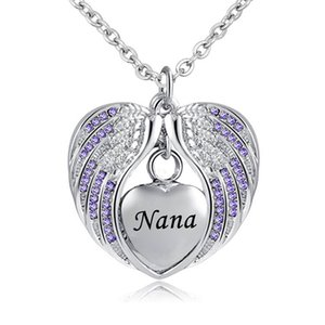 Bijoux de crémation avec collier d'urne d'aile d'ange pour cendres pendentif pierre de naissance titulaire coeur souvenir souvenir -Nana