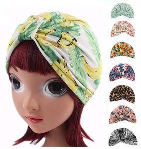 8PCS 2019 New Children's Kids Stretch Cotton Bonnet Muslim Turban Cap Baby Hair Loss Hat Bonnet Beanie Band Fashion Random Color