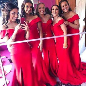 2019 New Elegant Red Mermaid Abiti da damigella d'onore sulle spalle spaccature Plus Size African Maid Of Honor Abiti da sposa Guest Dress BM0356