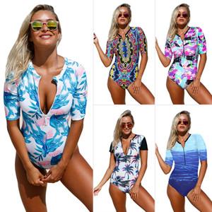 Pa Meng Plus Size Swimsuit Impresso Zip em torno do pescoço de manga curta de alta cintura One Piece Swimsuit 410203