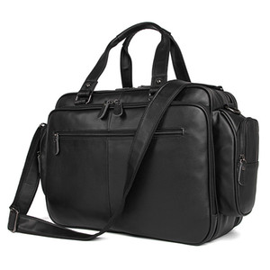 Big Large Capacity Chocolate Black Genuine Leather Men Travel Bags Messenger Bags 15.6'' Laptop Briefcase Portfolio