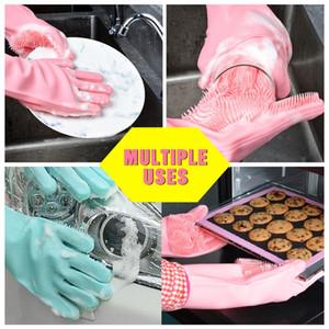 Guantes de silicona mágicos para lavar platos Guantes de limpieza ecológicos para fregar Guantes para lavar platos Herramientas para el hogar para limpiar Cepillo para mascotas