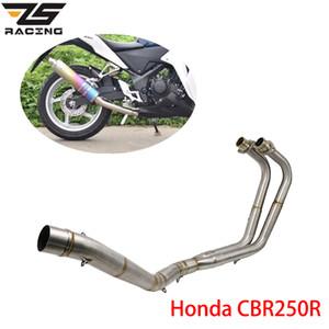 Exhaust ZS Motorcycle Racing aço inoxidável Sistema Mid Tubo Ligação Ligação Tubo Para CBR250R 2018-2019