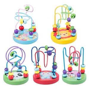 Montessori Holzspielzeug Holz Kreise Wulstdraht Maze Roller Coaster Educational Holz Puzzles Jungen Mädchen-Kind-Spielzeug als 6 Monate