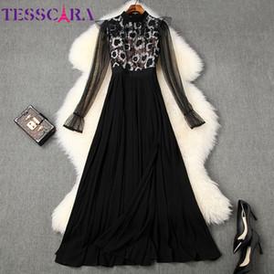 Fiesta de la vendimia de las mujeres de lujo TESSCARA diseñador de pista vestido maxi largo plisado de alta calidad del traje de coctel elegante encaje Vestidos