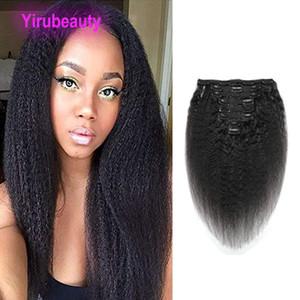 Saç Uzantıları yılında Perulu Bakire Saç Kinky Düz Klip% 100 İnsan Saç 120g Doğal Renk Toptan Clip-in