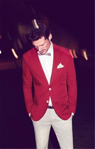 Casual Red And White Man Suit Slim Fit Groom Tuxedos 2 Piece Mens Wedding Prom Party Suits Bridegroom Groomsman Wear Jacket+Pant