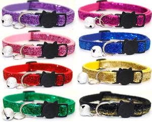 Collar del animal doméstico cabeza del gato del animal doméstico hebilla de seguridad perro pequeño parche lentejuelas collar de campana GB937