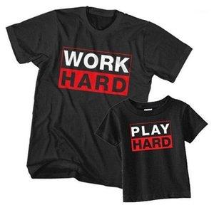 Mens Tops Casual Vestuário Parent Vestuário trabalho duro Imprimir Tshirts Crew Neck manga curta preta Moda