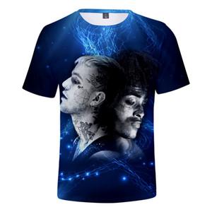 XXXTentacion y Lil Peep Camiseta 3d Cantante de rap Hombres Camiseta Unisex Camiseta divertida Hip-Hop O-cuello manga corta Verano Streetwear