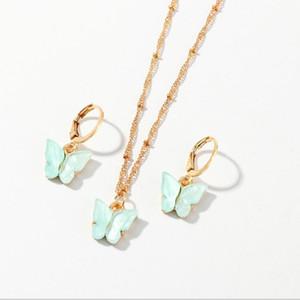 2020 borboleta New Bohemian doce cor Colares do Brinco Set Para Mulheres na moda Beads Chian Clavícula Chian moda jóias