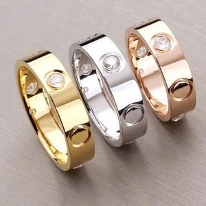 Классический бренд титана из нержавеющей стали Любовь кольца для женщин мужчины ювелирные изделия пары кубического циркония обручальные кольца 4 мм и 6 мм