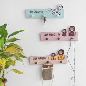 Portachiavi Cartoon Nordic parete di legno Soggiorno Coat Rack parete ganci per appendere porta dietro Hook Home Accessori Decoration