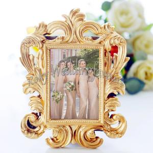 30PCS Gold Baroque Mini Frame Place Titular de la tarjeta Marco de fotos Favores de la boda Favores nupciales Aniversario Decoraciones de mesa Evento Suministros para fiestas