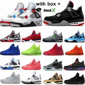 Air jordan 4 Bred 4s zapatos de baloncesto para hombre láser negro goma trueno derechos tatuaje caliente lava rapotors diseñador zapatillas IV dinero puro entrenadores