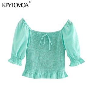 KPYTOMOA Frauen 2020 Mode Smok elastische gekräuselte geerntete Blusen Vintage-Quadrat Kragen Kurzarm Female Shirts Chic Tops