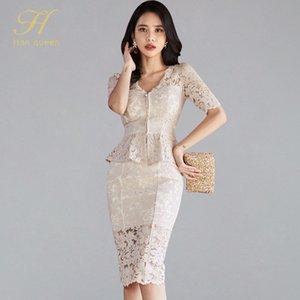 H Han Queen Korean Occupation Lace 2 Pieces Suits Women Summer Office Wear Casual Set Zipper Hollow Tops And Pencil Skirt