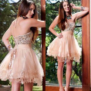 Peach pink 8th grade Short Prom Graduation Dresses vestido de formatura Rhinestone Beads Sparkly Homecoming Party Dresses Cocktail Dress
