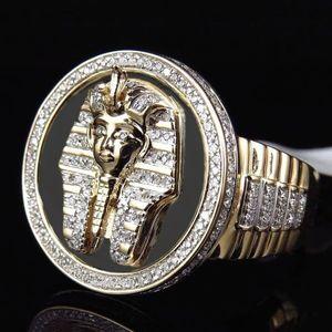 Hip Hop Altın Gümüş Renk Mısır Kral Tutankamon'un Halka Mısır Firavun Kral Motor Biker Mens ICRO Asfaltlanmış Taş Yuvarlak Halkalar