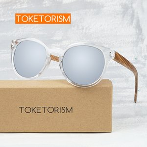 Toketorism Stylish wood sunglasses men polarized uv400 woman's round mirror glasses 7051