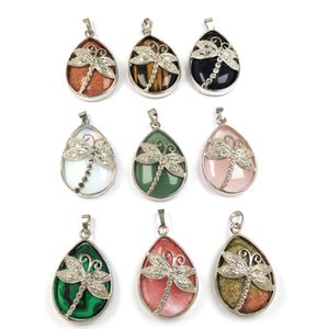 Wholesale 10 pcs Silver Plated Dragonfly Water Drop Malachite Stone Pendant Rock Crystal For Gift Jewelry