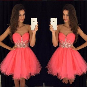 Modest Water Melon Short Cocktail Party Dresse Con Faja De Tul Con Cuentas Piping Sweeetheart Homecoming Prom Dress Custom MAde