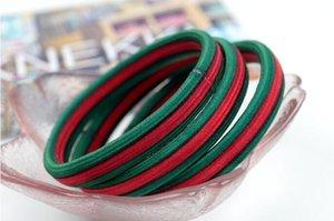 2020 banda de goma plano con sede en Corea del rojo y verde a rayas cabeza cuerda cuerda de pelo de cola de caballo impresa anillo de pelo accesorios para el cabello elásticos rápida delive