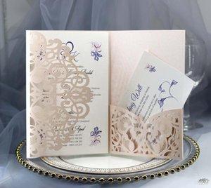 Dobrados convites Partido Laser Cut Wedding convite Cartões bolso Europeia casamento com envelope Cartões Para Engagement Multi Color