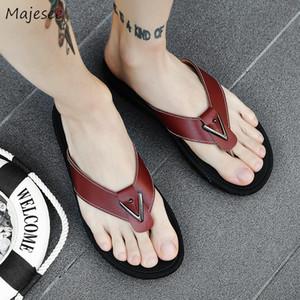 Pantuflas de hombre alta elasticidad antideslizante simple Todo-fósforo Verano flip flop zapatos de los hombres coreanos del estilo del deslizador de 2019 Chic adultas
