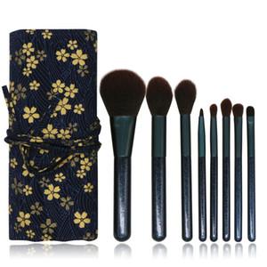 Punho de madeira Mkeup escova escovas Cosmetic portátil com impressão floral Bolsa Blending Eyeshadow Lip Cosmetic Eye Makeup Brushes 8Pcs GGA2269