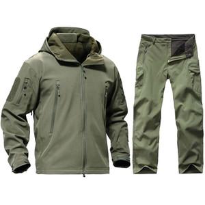 TAD Tactical Army Men Hunting Clothes Caminhadas Explore traje de camuflagem Sharkskin Softshell impermeável revestimento encapuçado + Pants