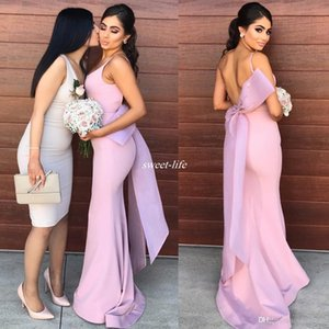 Long Wedding Guest Formal Dress Spaghetti Strap with Bow Backless Mermaid Satin Maid of Honor 2020 Bridesmaid Dresses