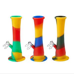 Bong en silicone métal downstem Diffuse couleur fumer portable pliable pipe à eau huile Rig narguilés 230mm 235mm 3 Styles Choisissez l'outil