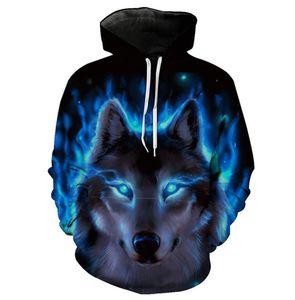 Yin Yang feu Ice Wolves Imprimer sweat à capuche
